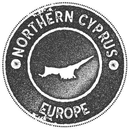 Northern Cyprus map vintage stamp. Retro style handmade label, badge or element for travel souvenirs. Dark grey rubber stamp with country map silhouette.