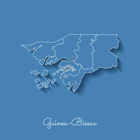 Guinea-Bissau region map: blue with white outline and shadow on blue background. Detailed map of Guinea-Bissau regions.