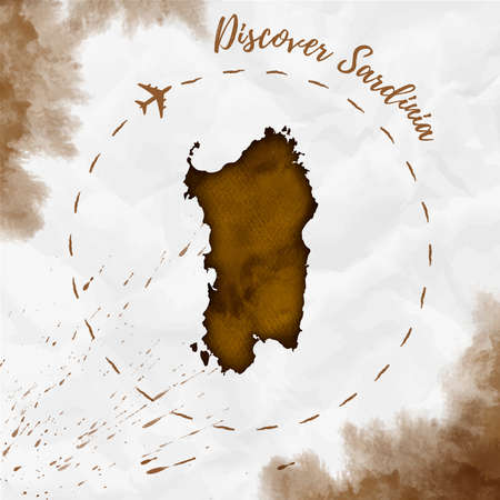 Sardinia watercolor island map in sepia colors. Discover Sardinia poster with airplane trace and hand painted watercolor Sardinia map on crumpled paper.