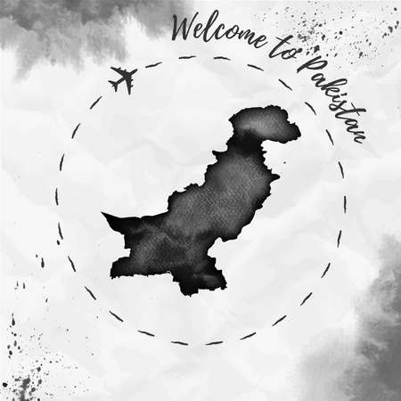 Pakistan watercolor map in black colors. Welcome to Pakistan poster with airplane trace and hand painted watercolor Pakistan map on crumpled paper. Vector illustration.
