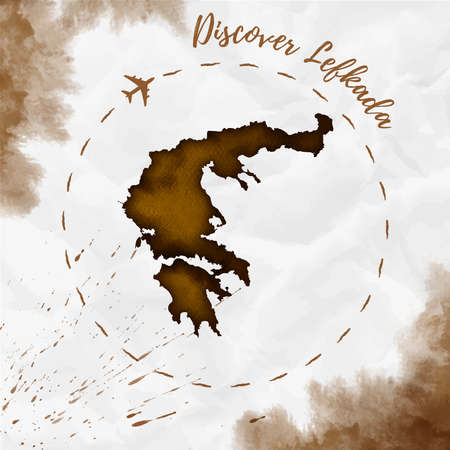 Lefkada watercolor island map in sepia colors. Discover Lefkada poster with airplane trace and hand painted watercolor Lefkada map on crumpled paper. Vector illustration.