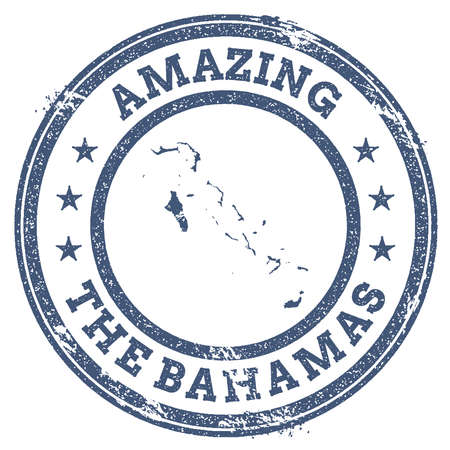 Vintage Amazing Bahamas travel stamp with map outline. Bahamas travel grunge round sticker.