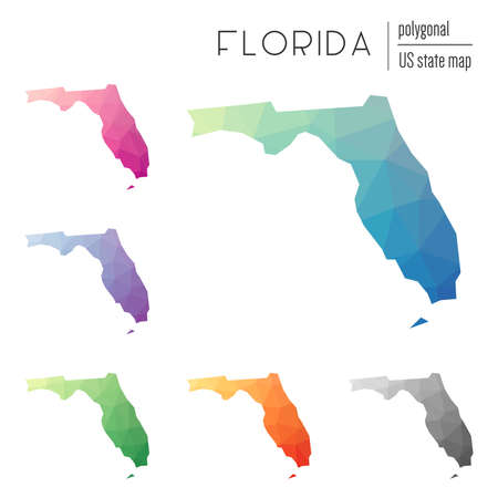 Set of vector polygonal Florida maps. Bright gradient map of the US state in low poly style. Multicolored Florida map in geometric style for your infographics.