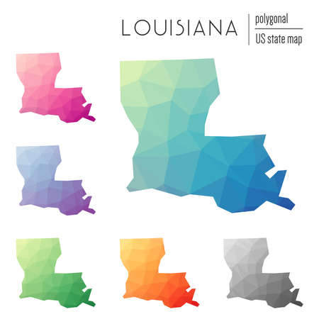 Set of vector polygonal Louisiana maps. Bright gradient map of the US state in low poly style. Multicolored Louisiana map in geometric style for your infographics. Çizim