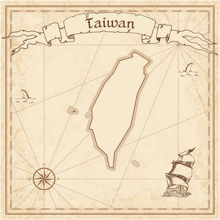 Taiwan, Republic Of China old treasure map. Sepia engraved template of pirate map. Stylized pirate map on vintage paper. Ilustração
