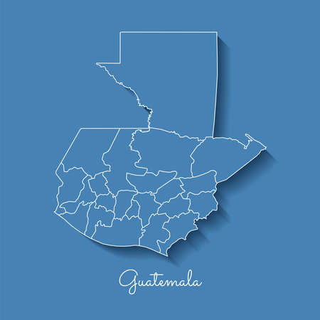 Guatemala region map: blue with white outline and shadow on blue background. Detailed map of Guatemala regions. Vector illustration.