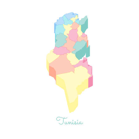 Tunisia region map: colorful isometric top view. Detailed map of Tunisia regions. Vector illustration.