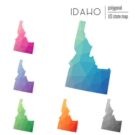 Set of vector polygonal Idaho maps. Bright gradient map of the US state in low poly style. Multicolored Idaho map in geometric style for your infographics.
