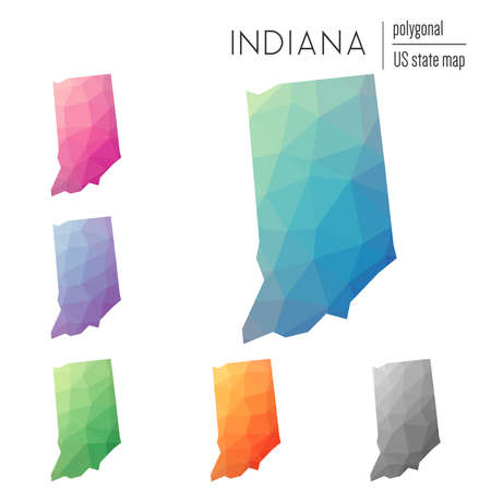 Set of vector polygonal Indiana maps. Bright gradient map of the US state in low poly style. Multicolored Indiana map in geometric style for your infographics.
