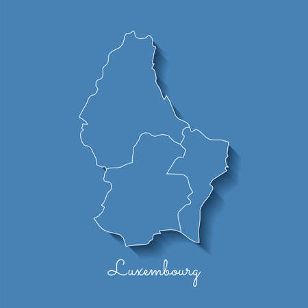 Luxembourg region map: blue with white outline and shadow on blue background. Detailed map of Luxembourg regions. Vector illustration.