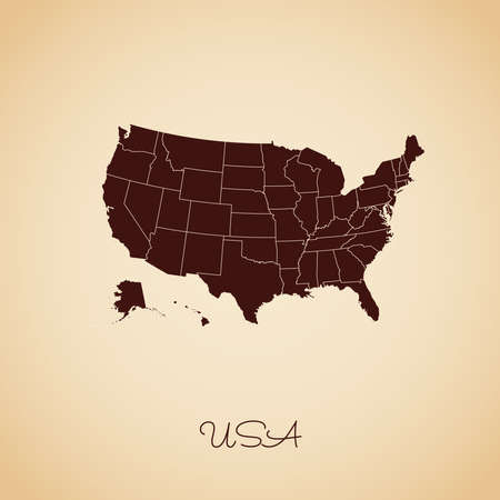 USA region map: retro style brown outline on old paper background. Detailed map of USA regions. Vector illustration. 矢量图像