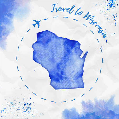 Wisconsin watercolor us state map in blue colors. Travel to Wisconsin poster with airplane trace and handpainted watercolor Wisconsin map on crumpled paper. Vector illustration.