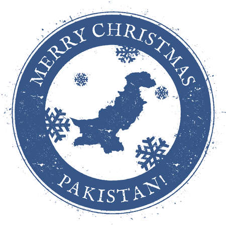 Pakistan map. Vintage Merry Christmas Pakistan Stamp. Stylised rubber stamp with county map and Merry Christmas text, vector illustration.