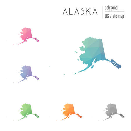 Set of vector polygonal Alaska maps. Bright gradient map of the US state in low poly style. Multicolored Alaska map in geometric style for your infographics.
