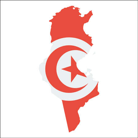 Tunisia high resolution map with national flag. Flag of the country overlaid on detailed outline map isolated on white background.