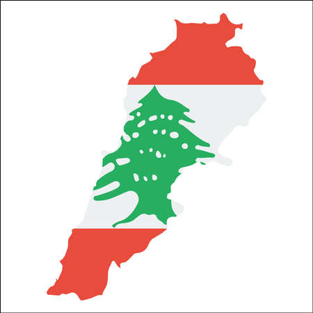 Lebanon high resolution map with national flag. Flag of the country overlaid on detailed outline map isolated on white background.