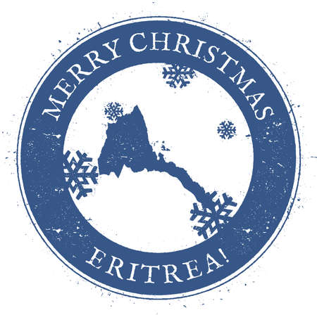 Eritrea map. Vintage Merry Christmas Eritrea Stamp. Stylised rubber stamp with county map and Merry Christmas text, vector illustration.