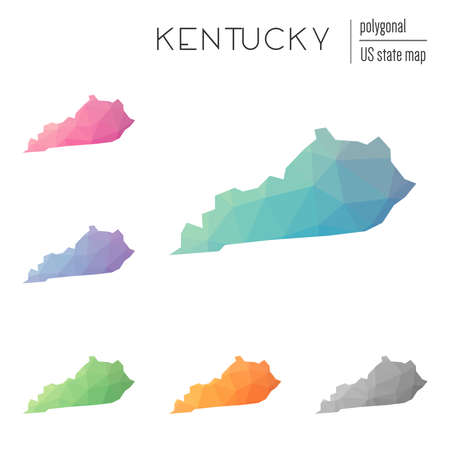 Set of vector polygonal Kentucky maps. Bright gradient map of the US state in low poly style. Multicolored Kentucky map in geometric style for your infographics.