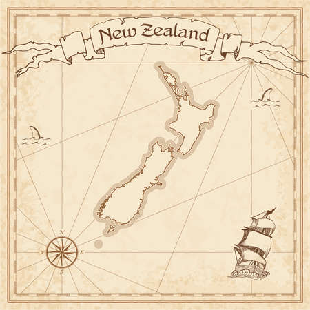 New Zealand old treasure map. Sepia engraved template of New Zealand treasure map. Stylized country treasure map on vintage torn paper.