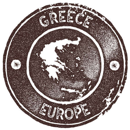 Greece map vintage stamp. Retro style handmade label, badge or element for travel souvenirs. Brown rubber stamp with country map silhouette. Vector illustration. Çizim