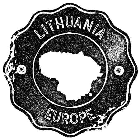 Lithuania map vintage stamp. Retro style handmade label, badge or element for travel souvenirs. Black rubber stamp with country map silhouette. Vector illustration.