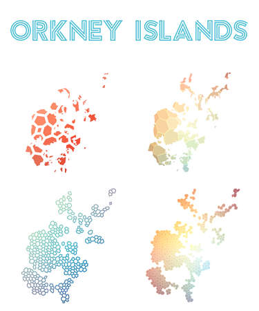 Orkney Islands polygonal island map. Mosaic style maps collection. Bright abstract tessellation, geometric, low poly, modern design. Orkney Islands polygonal maps for infographics or presentation.