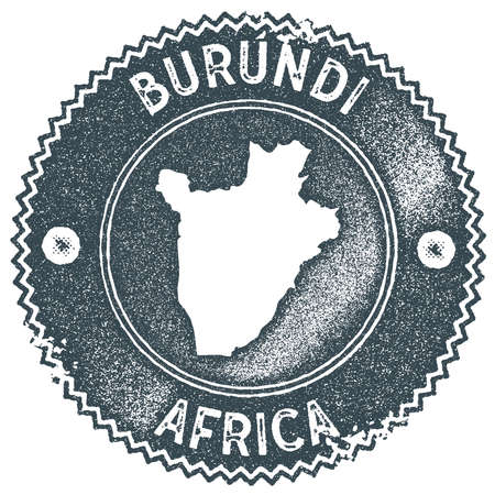 Burundi map vintage stamp. Retro style handmade label, badge or element for travel souvenirs. Dark blue rubber stamp with country map silhouette. Vector illustration.