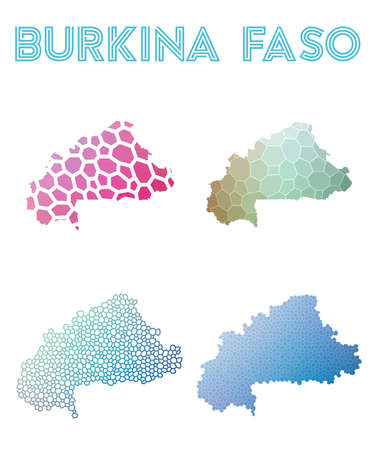 Burkina Faso polygonal map mosaic style maps collection. Bright abstract tessellation, geometric, low poly, modern design. Burkina Faso polygonal maps for infographics or presentation.