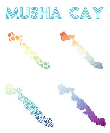 Musha Cay polygonal island map. Mosaic style maps collection.