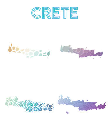 Crete polygonal island map. Mosaic style maps collection. Bright abstract tessellation, geometric, low poly, modern design. Crete polygonal maps for infographics or presentation.