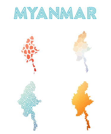 Myanmar polygonal map. Mosaic style maps collection. Bright abstract tessellation, geometric, low poly, modern design. Myanmar polygonal maps for infographics or presentation.