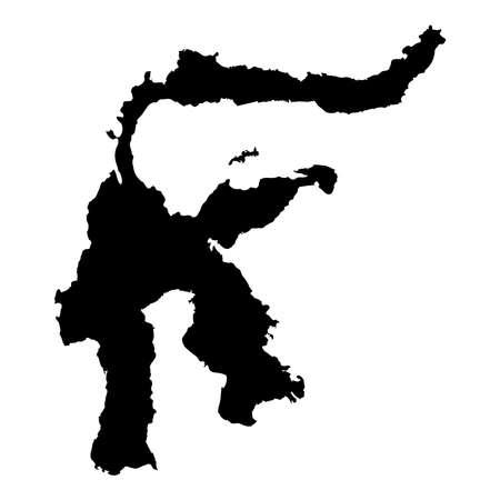 Sulawesi map. Island silhouette icon. Isolated Sulawesi black map outline. Vector illustration. Illustration