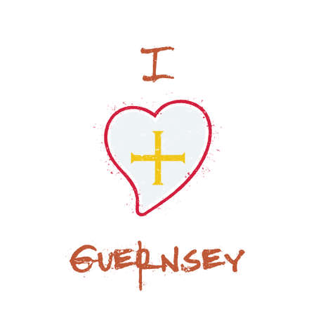 Channel Islander flag patriotic t-shirt design. Heart shaped national flag Guernsey on white background. Vector illustration.