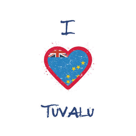 I love Tuvalu t-shirt design. Tuvaluan flag in the shape of heart on white background. Grunge vector illustration. Çizim