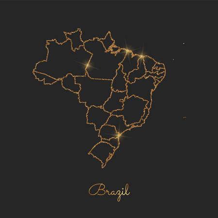 Brazil region map: golden glitter outline with sparkling stars on dark background. Detailed map of Brazil regions. Vector illustration.