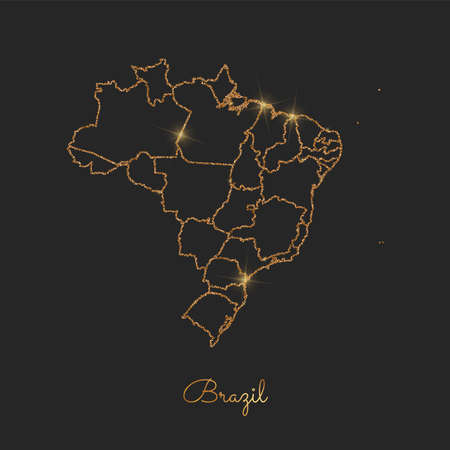 Brazil region map: golden glitter outline with sparkling stars on dark background. Detailed map of Brazil regions. Vector illustration.