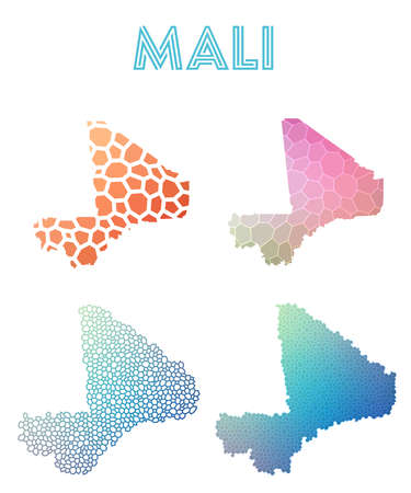 Mali polygonal map. Mosaic style maps collection. Bright abstract tessellation, geometric, low poly, modern design. Mali polygonal maps for info graphics or presentation.