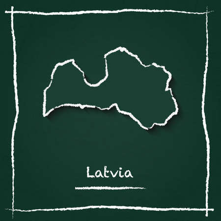 Latvia outline vector map hand drawn with chalk on a green blackboard. Chalkboard scribble in childish style. White chalk texture on green background.