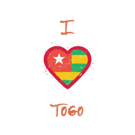 I love Togo t-shirt design. Togolese flag in the shape of heart on white background. Grunge vector illustration.