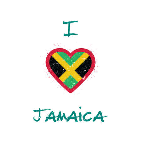 I love Jamaica t-shirt design. Jamaican flag in the shape of heart on white background. Grunge vector illustration. Illustration