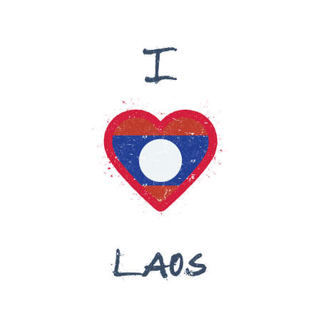 I love Lao People's Democratic Republic t-shirt design. Laotian flag in the shape of heart on white background. Grunge vector illustration.
