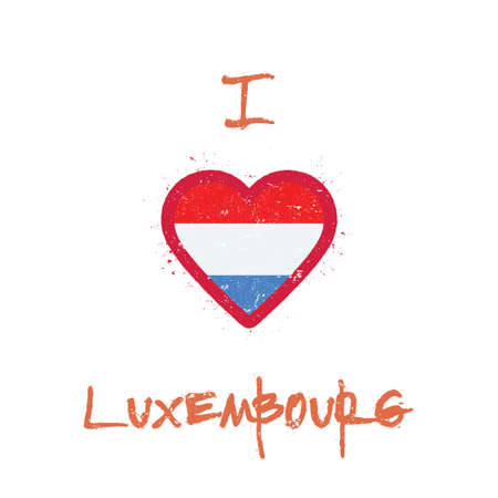 I love Luxembourg t-shirt design. Luxembourger flag in the shape of heart on white background. Grunge vector illustration. Illustration