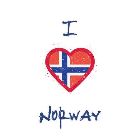 I love Norway t-shirt design. Norwegian flag in the shape of heart on white background. Grunge vector illustration.