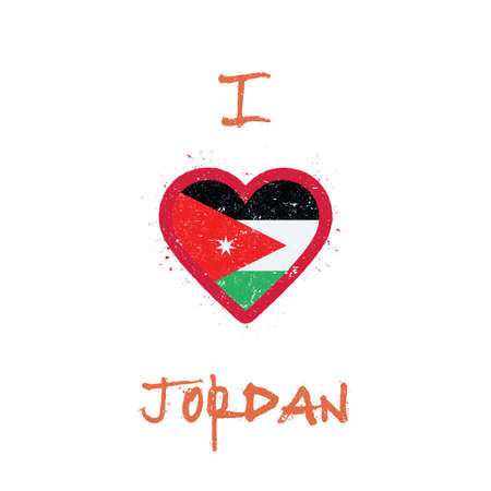 I love Jordan t-shirt design. Jordanian flag in the shape of heart on white background. Grunge vector illustration.