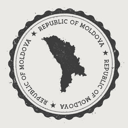 Moldova, Republic of hipster round rubber stamp with country map. Vintage passport stamp with circular text and stars, vector illustration. Vectores