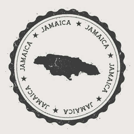 Jamaica hipster round rubber stamp with country map. Vintage passport stamp with circular text and stars, vector illustration. Vettoriali