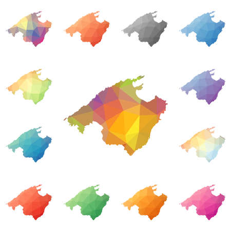 Majorca geometric polygonal, mosaic style island maps collection. Bright abstract tessellation, low poly style, modern design. Majorca polygonal maps for your infographics or presentation.