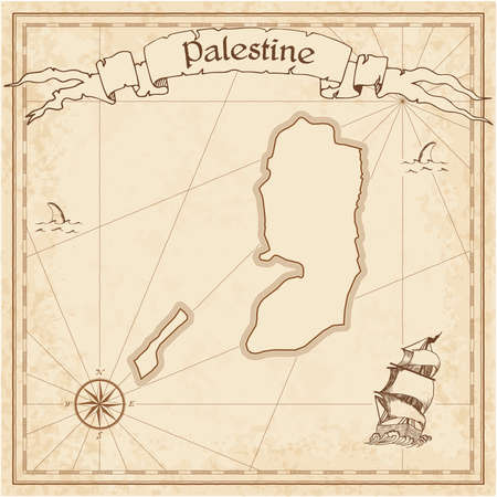 Palestine old treasure map. Sepia engraved template of pirate map. Stylized pirate map on vintage paper.