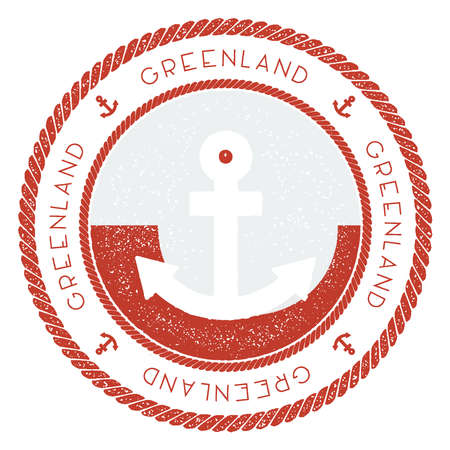 Nautical Travel Stamp with Greenland Flag and Anchor. Marine rubber stamp, with round rope border and anchor symbol on flag background. Vector illustration. Vettoriali