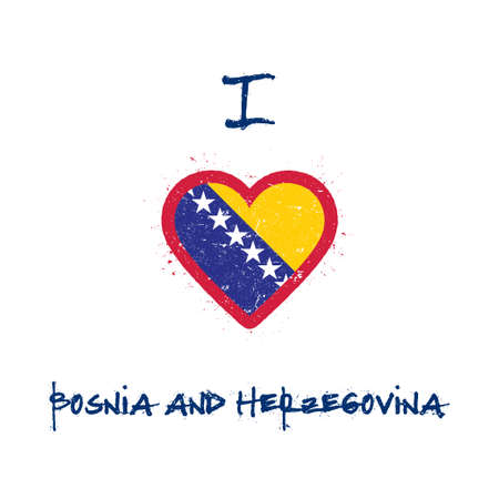 I love Bosnia and Herzegovina t-shirt design. Bosnian, Herzegovinian flag in the shape of heart on white background. Grunge vector illustration. Çizim